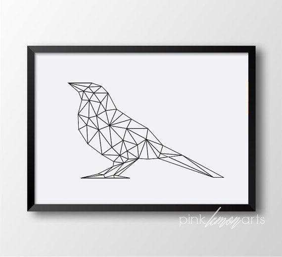 Bird print, Geometric bird, Scandinavian art, Wall print, Home decor, Black and white print, Modern decor 187