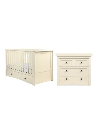 """<p>Featuring smooth stylish curves, the Bloomsbury cotbed is the perfect first bed for your baby and had been designed to last them throughout their toddler years by converting into their very first bed.</p><p>The Bloomsbury changing unit is the perfect space to dress your little one or change their nappy and when no longer required, as your baby grows, it can be easily removed to leave a stylish chest of drawers which will last for many years.</p><div style=""""position: relative; top…"""