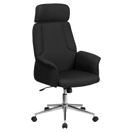 Flash Furniture High Back Brown Fabric Executive Swivel Office Chair with Chrome Base, Black