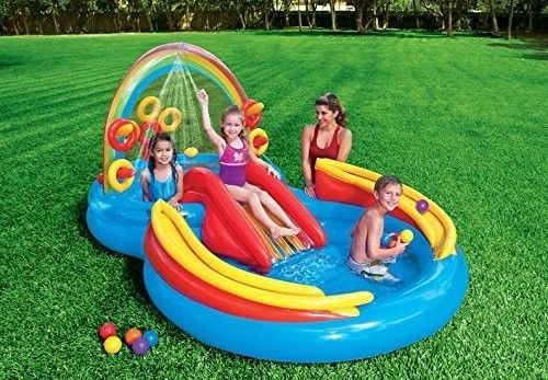 Inflatable Water Slide includes water slide, wading pool, water sprayer, ring toss game (with 4 inflatable rings). Inflatable Water Slide included water slide, ring toss game, ball roller game. Inflatable Water Slide features a water sprayer that hooks to a garden hose to keep you cool at the same time. | eBay!