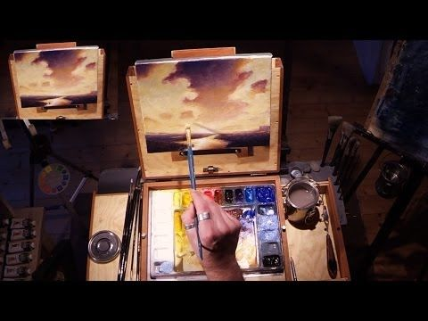 How To Paint Sunset Clouds - Time Lapse Acrylic Painting by Nagualero - YouTube
