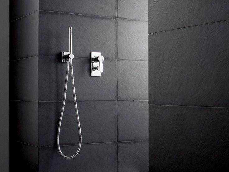 ZAZZERI TREND Miscelatore per doccia con doccetta in ottone con finitura cromo o acciaio spazzolato o mat bianca o nera verniciata a spruzzo