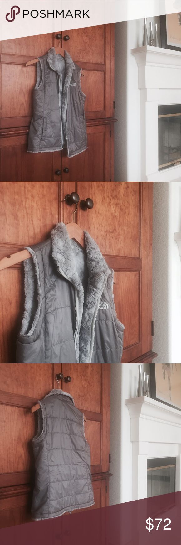 North Face Grey Reservable Vest No flaws.was never really used The North Face Jackets & Coats Vests