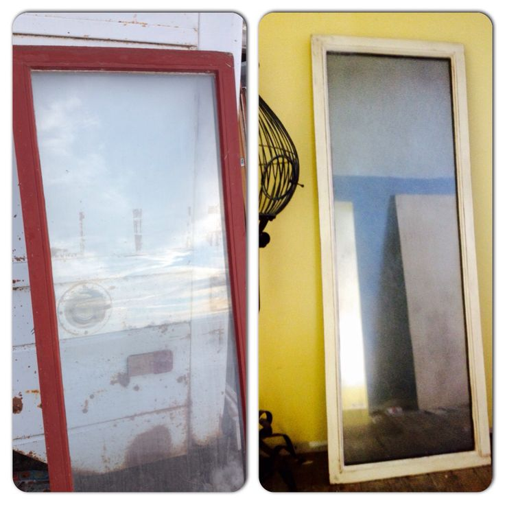 Before after we have a pile of old windows on our for Mirror 80 x 50