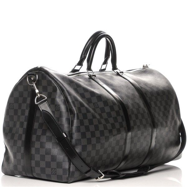 5e33af8eabb2 LOUIS VUITTON Damier Graphite Keepall Bandouliere 55 ❤ liked on Polyvore  featuring bags