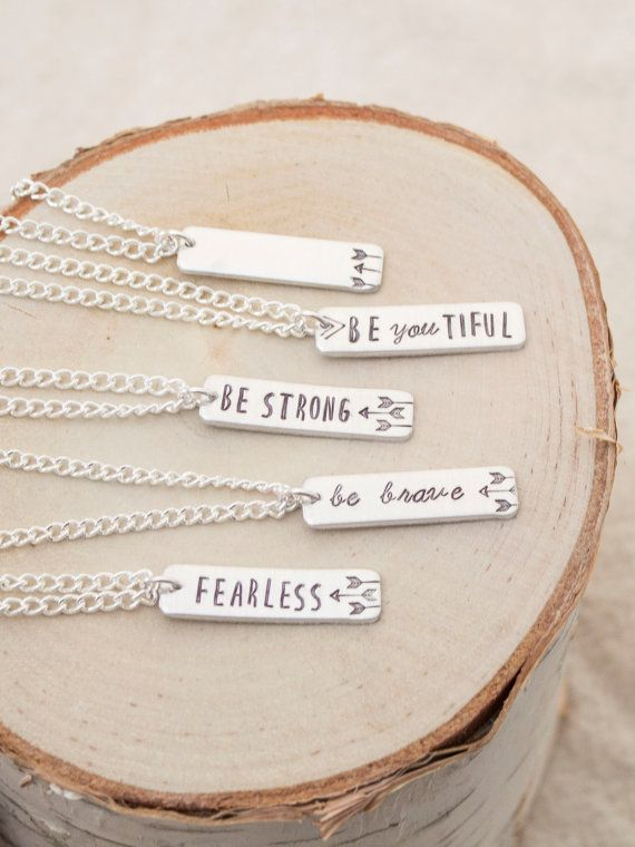 Be Brave Custom Bar Necklace - Custom Jewelry - Beyoutiful Be Strong Fearless…