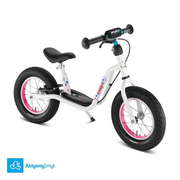 """Biały rowerek biegowy dla 3 latka Puky LR XL posiada regulację siodełka 41-51 cm, regulowaną na wysokość kierownicę bez blokady skrętu, pompowane opony 12x2,40"""", mocny hamulec tylnego koła typu v-brake"""