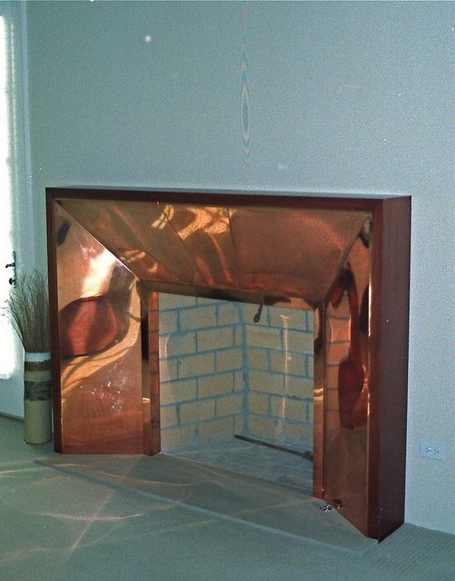 Custom Fireplace Surround © 1999 :: 16 ounce Copper wrapped over a Steel Sub-frame, clad in Honduran Mahogany