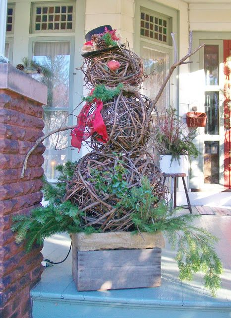 Musings of a Vintage Junkie: Still Decorating.....the Final Touches Grapevine snowman