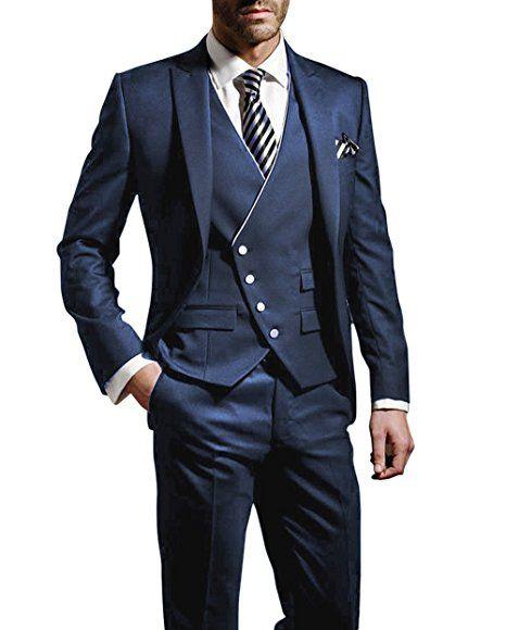 07146508cac405 Suit Me Herren 3-Teilig Anzug Slim Fit Hochzeiten Party Smoking Anzuege  Sakko