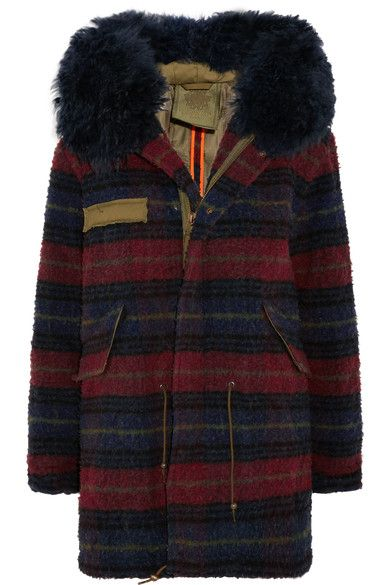 MR & MRS ITALY - Shearling-trimmed Boiled Wool Parka - Navy - x small
