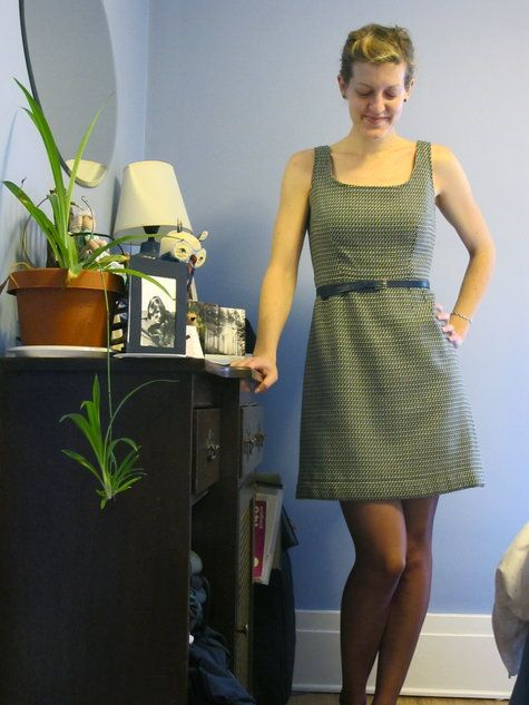 Pinafore dress-Free pattern.  I could see doing this in a darker heavyweight for winter, and a light seersucker for summer.