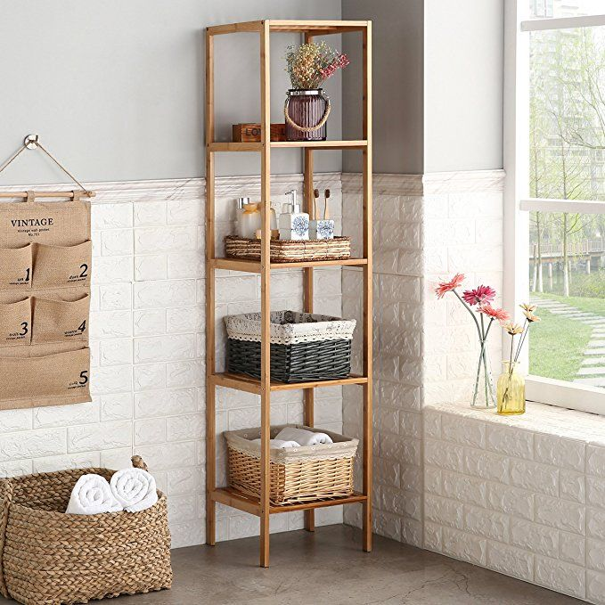Finnhomy Natural Bamboo Shelf Wood 5 Tier Bathroom Shelf Unit Tower ...