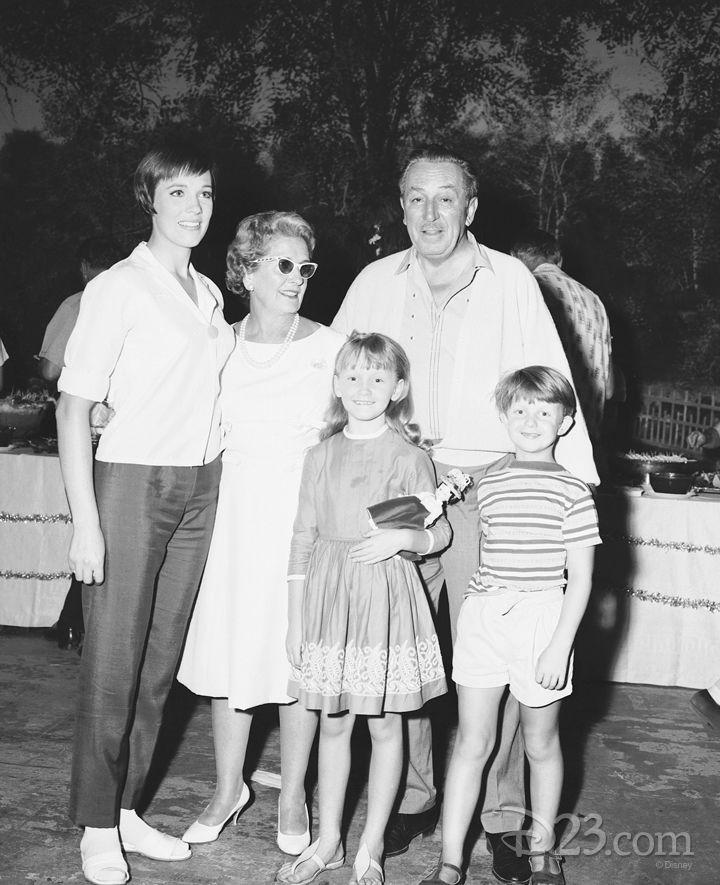 Julie Andrews, P. L. Travers, Walt Disney, Matthew Garber and Karen Dottrice behind the scenes of Mary Poppins.