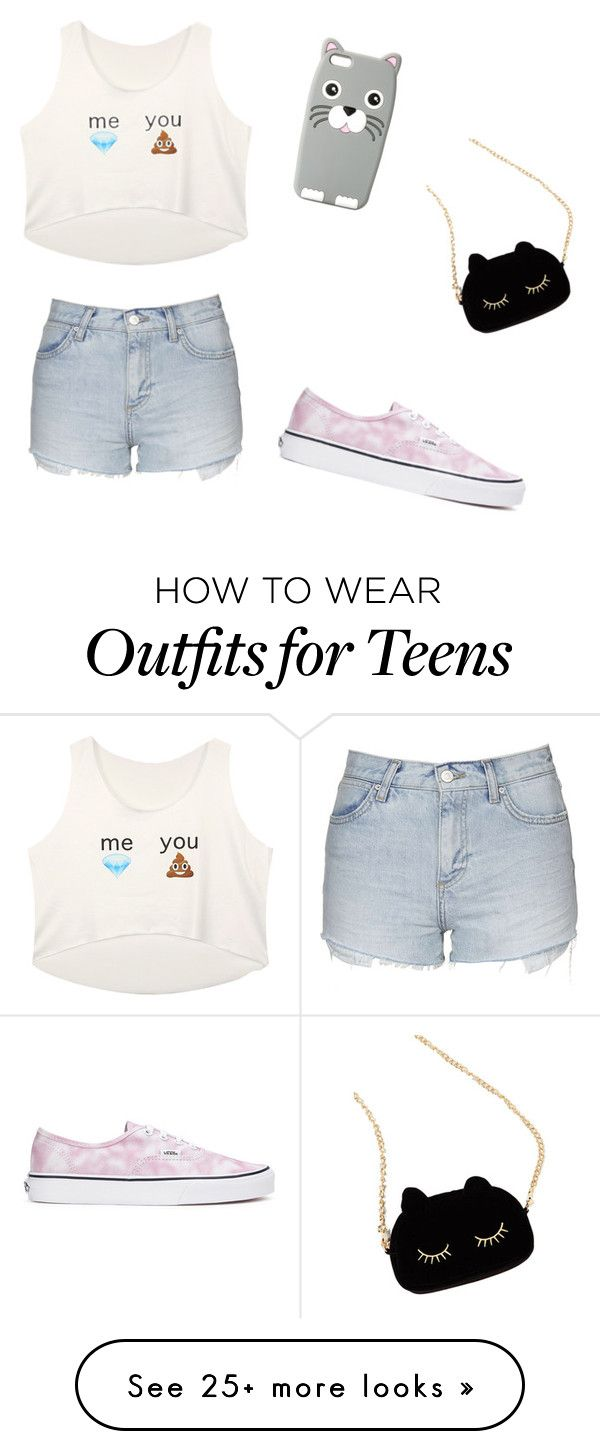 """The cheapest outfitt for teens"" by tumblr-draw on Polyvore featuring Topshop, Vans, MANGO and WithChic"