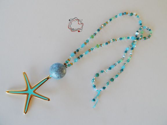 Necklaces : Water Colour Crystal Necklace With Starfish Charm