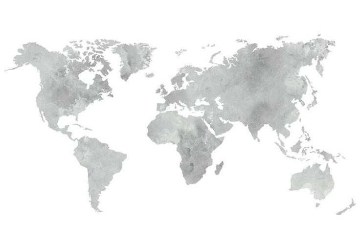 Wandtattoo Aquarell Weltkarte (grau)