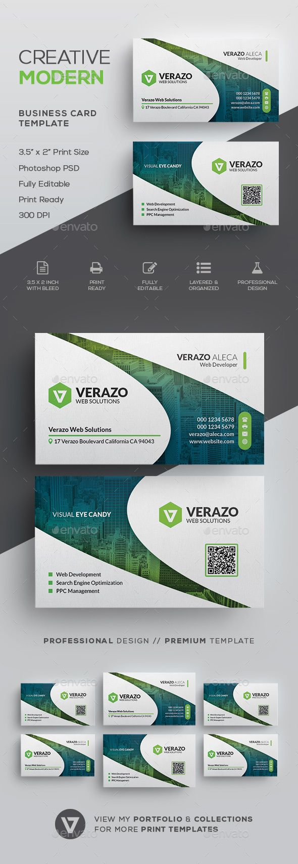 Clean Modern Corporate Business Card Template PSD