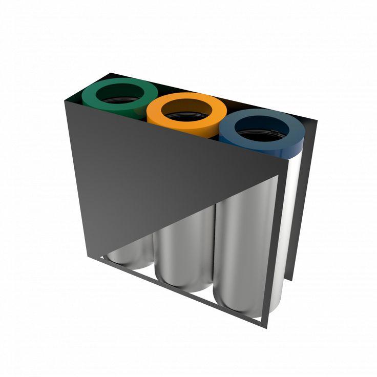 TRIOLET SST - Modern frame stainless steel recycling bin station