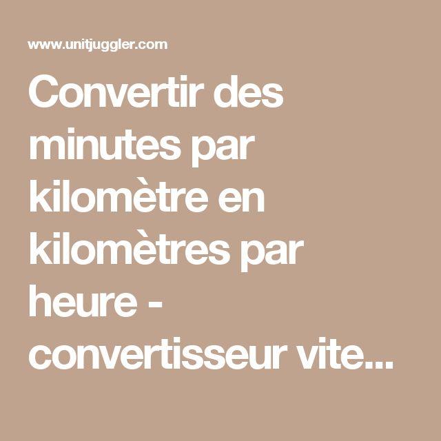 Convertir des minutes par kilomètre en kilomètres par heure - convertisseur vitesse