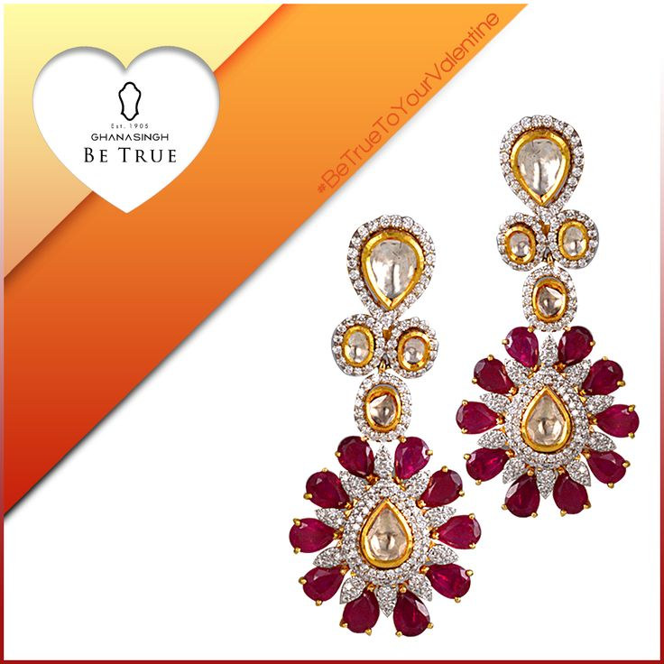 If she is fond of ethnicity then here are these gorgeous earrings which can make it to her jewellery box.  Totally Indian with stone and diamantes on gold finishing.