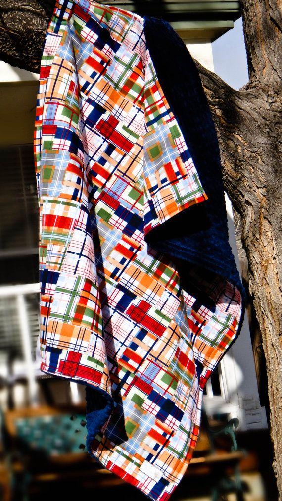 Boys Madrus Minky Stroller Blanket in orange, blue, green, navy and white, Patchwork Plaid design, Large Stroller Blanket, Michael Miller
