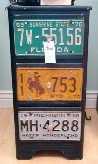 Shabby road chic license plate dresser. 225.00.
