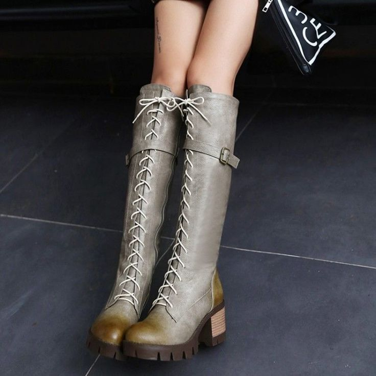 Fashion Punk Shoes Mid Heels Lace Up Retro Knee High Winter Womens Military Boot