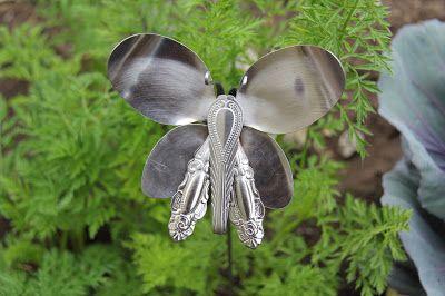 Silverware Butterfly -  http://www.gardeninghelpinformation.com/spoon-butterfly-garden-ornament-from-recycled-silverware/