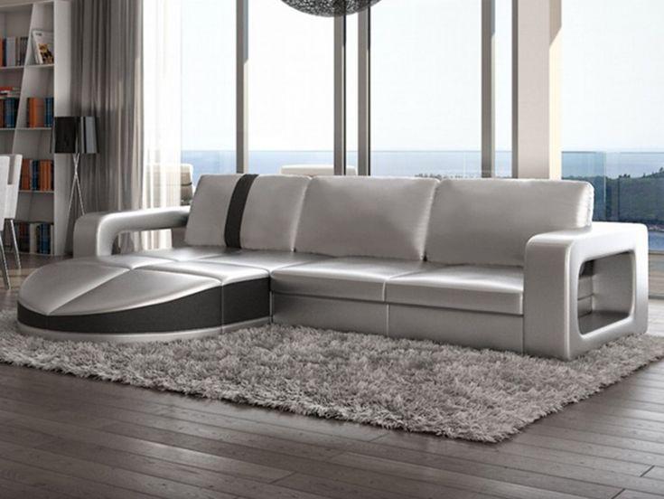 Sofa rinconero reversible de piel sintetica plateado con tira negra TALITA