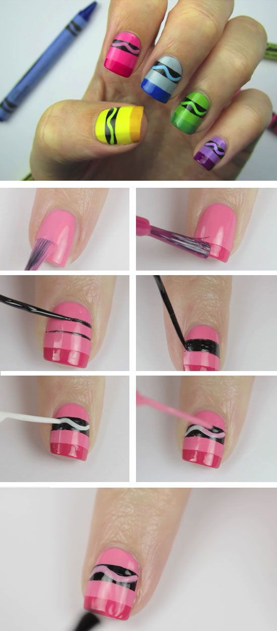 Uñas tricolor decoradas con ondas paso a paso | Decoración de Uñas - Manicura y Nail Art