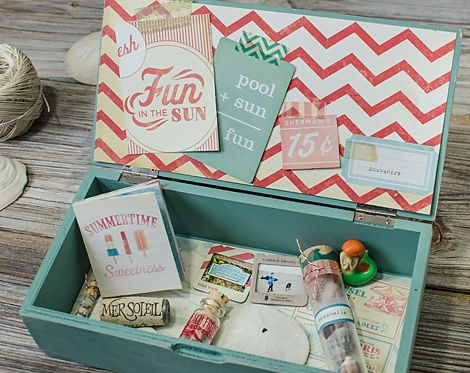 Keep your vacation souvenirs safe with a memory box!  Great idea by Marie Lottermoser who used Crate Paper to decorate hers with a trendy coral cardstock.  Speaking of trend, we have the entire Crate Paper On Trend collection at www.cardstockshop.com.