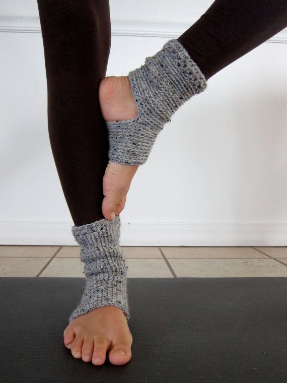 Cozy Grey Crochet Yoga Socks by AnandaMalas on Etsy