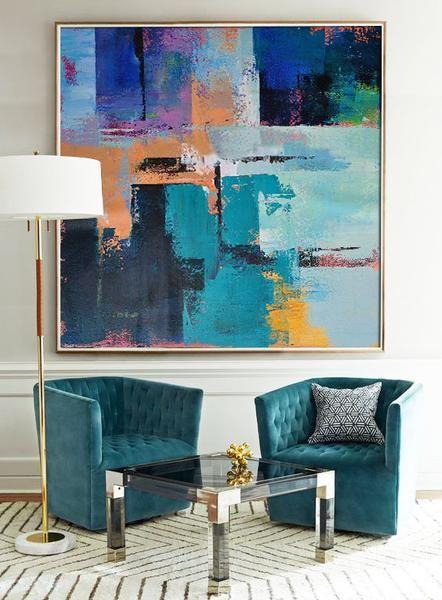 CZ Art Design @CelineZiangArt- Palette Knife contemporary painting, modern art, hand painted painting on canvas, yellow, green, orange, blue, purple, etc.
