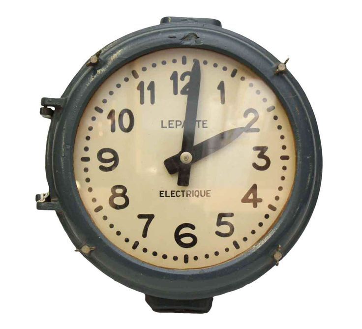 Cast Iron Blue Industrial Clock on Chairish.com