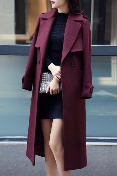Casual Turn-Down Collar Long Sleeves Solid Color Worsted Coat