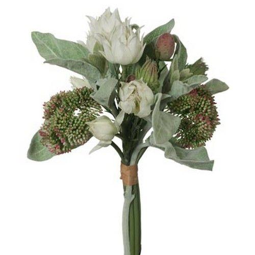 Sedlum / Lambs Ear Mixed Bouquet - Cream/Green (29H cm) RRP $38