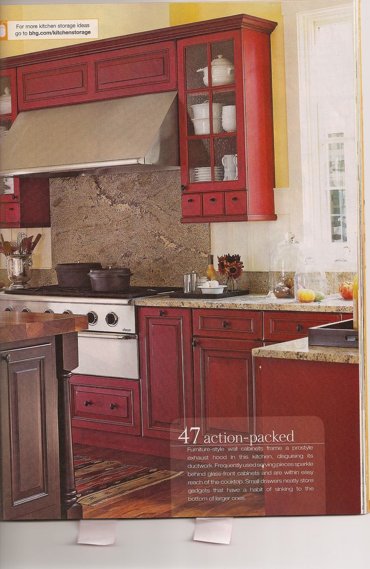 Best 20 red kitchen cabinets ideas on pinterest - Red kitchen cabinets ideas ...