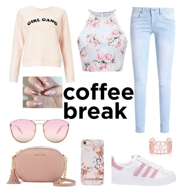 """Relax Summer break💗"" by kayla-cobham ❤ liked on Polyvore featuring Miss Selfridge, adidas Originals, MICHAEL Michael Kors and Quay"