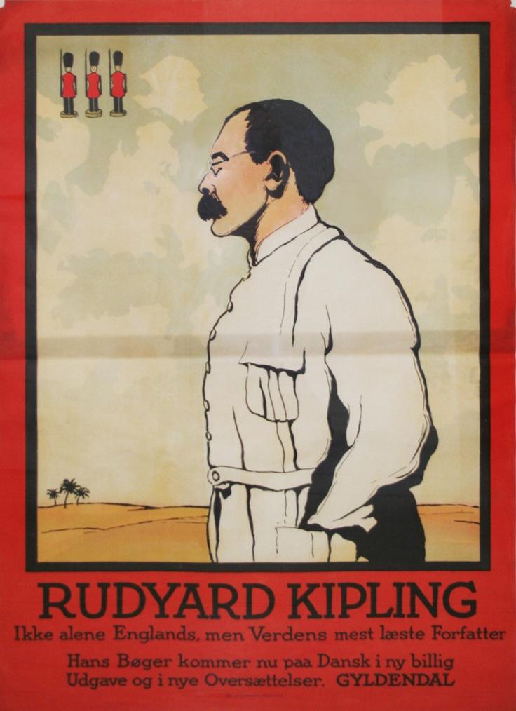 """Go'e gamle Kipling, forfatter til bl.a. """"Junglebogen"""".    Original retro-plakat fra Forlaget Gyldendals gemmer."""