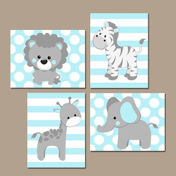 Baby Boy Animal Nursery Wall Art Blue Gray Boy Nursery