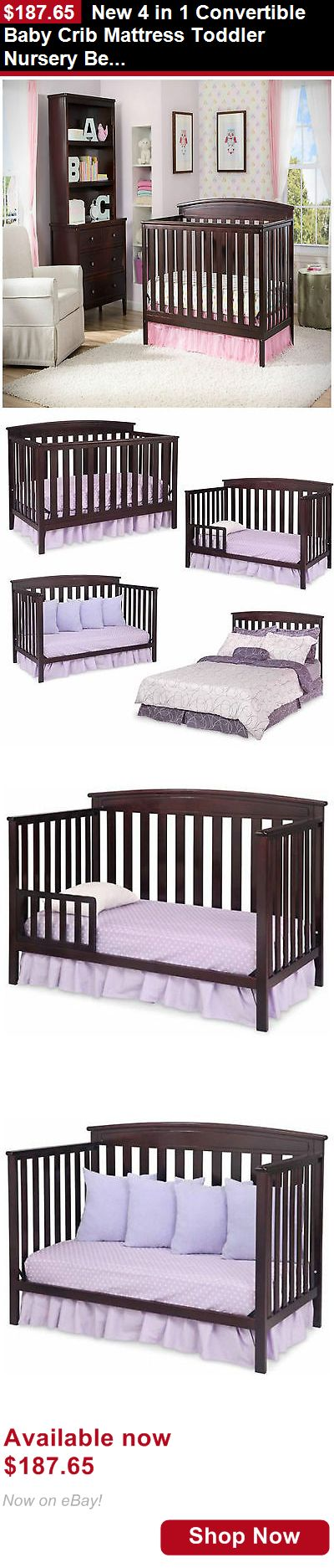 Cribs: New 4 In 1 Convertible Baby Crib Mattress Toddler Nursery Bed Changer Side BUY IT NOW ONLY: $187.65