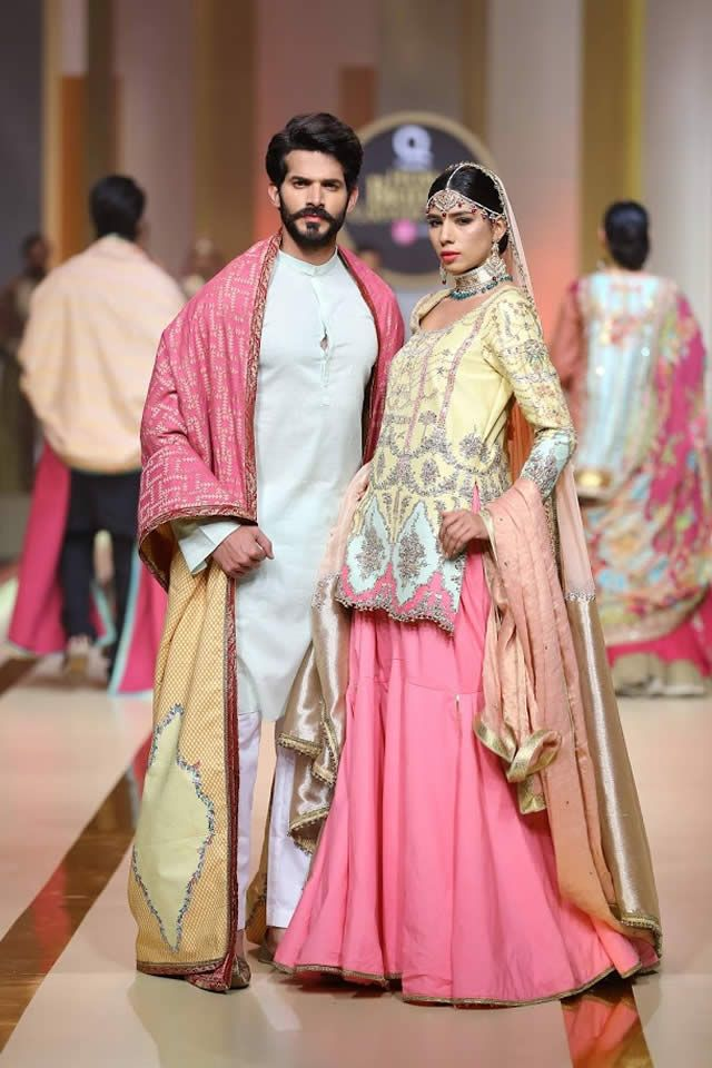 Famous Pakistani fashion designer Fahad Hussayn exhibited the luxurious bridal collection at Qmobile Hum Bridal Couture Week 2017.