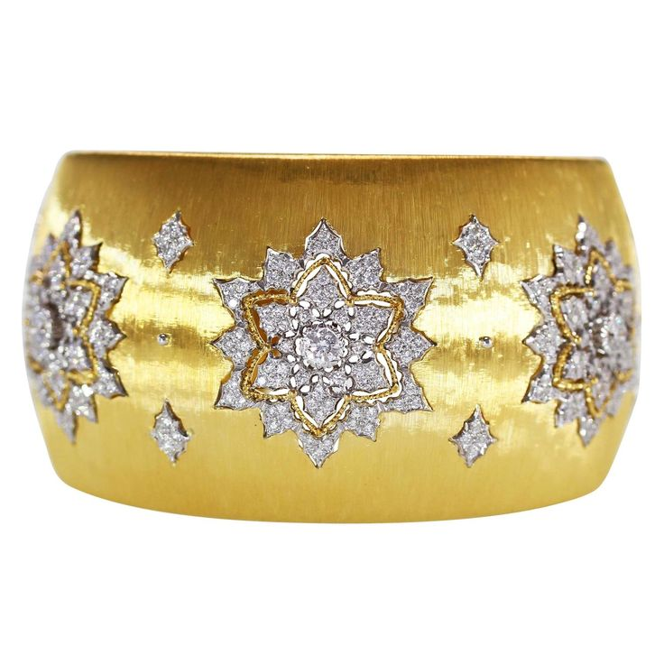 Buccellati Diamond Gold Wide Cuff Bracelet | 1stdibs.com