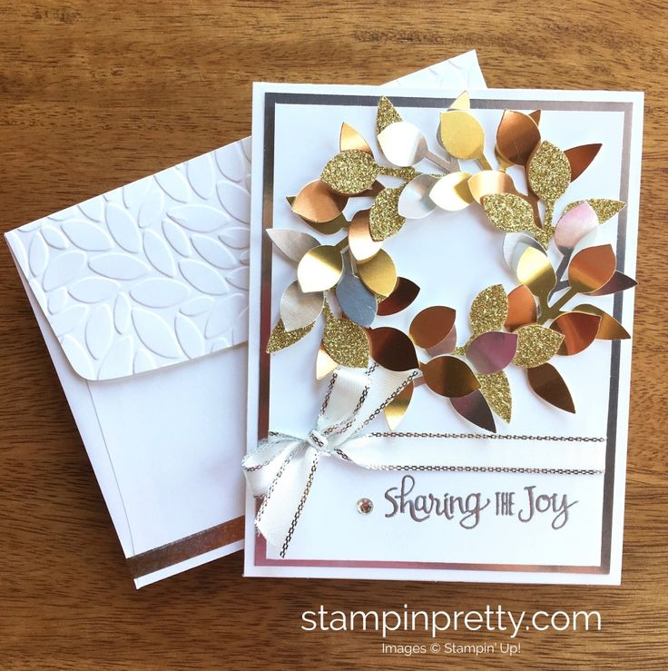"Leaf punch [144667] (2017 Holiday Catalog), Silver 3/8"" Metallic Edge Ribbon, Silver embossing powder, Gold Foil, Silver Foil, Copper Foil, Gold Glimmer Paper, Happiest of Days (sentiment), Petal Burst EF (blend a variety of greens for a traditional Christmas card), Year of Cheer Washi Tape, Metallic Enamel Shapes"