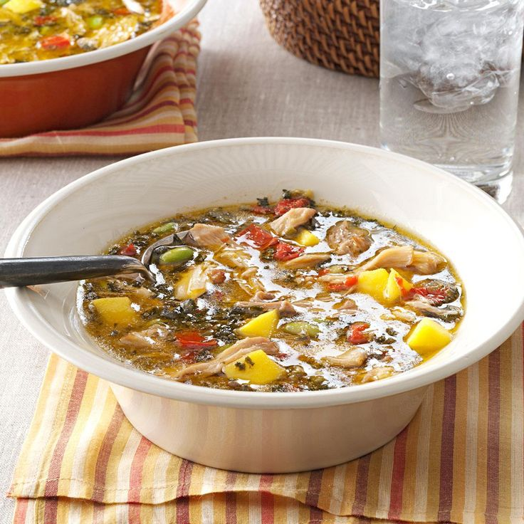 """Mango & Coconut Chicken Soup Recipe -I love preparing dinner in a slow cooker because it's """"carefree cooking."""" This chicken dish uses ingredients that I love, such as coconut milk, edamame and fresh ginger. The Asian-style entree is perfect for a potluck party. —Roxanne Chan, Albany, California"""