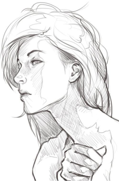 pencil, sketch, female, head