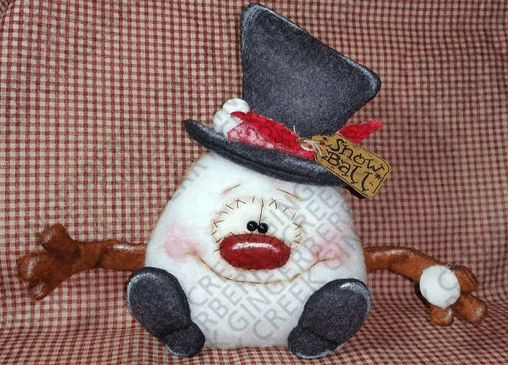 Snowball the Snowman Pattern #178 - Primitive Doll Pattern #GingerberryCreek