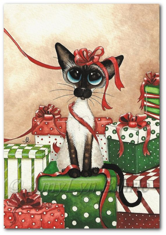 Siamese Series #324 - Title: Red Ribbon | #christmastime #holidaytime #presents #gifts #cats #art | All images © AmyLyn Bihrle www.amylyn-bihrle.com All rights reserved. Copyright watermark will not appear on prints. Colors may vary depending on monitor settings.