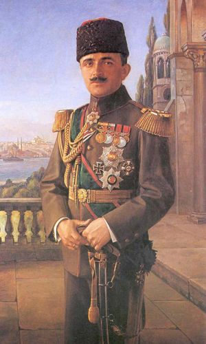 Painted portrait of Enver Pasha (1881-1922).  He was an Ottoman military officer and a leader of the 1908 Young Turk Revolution. He was the main leader of the Ottoman Empire in both Balkan Wars and World War I.